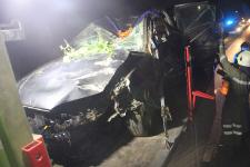 Fahranfänger landete nach Unfall mit Fahrzeugdach in einer Baumgruppe_11